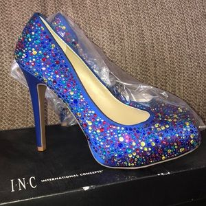 INC Sparkly Blue Heels